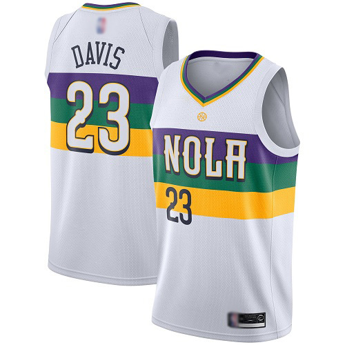 Authentic Men's Anthony Davis White Jersey - #23 Basketball New Orleans Pelicans City Edition