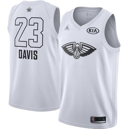 Swingman Jordan Youth Anthony Davis White Jersey - #23 Basketball New Orleans Pelicans 2018 All-Star Game