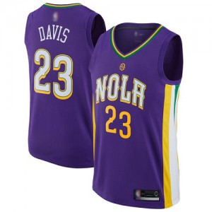 Swingman Youth Anthony Davis Navy Blue Jersey 23 Basketball New Orleans Pelicans Icon Edition