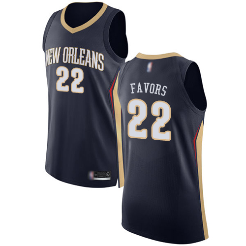 Authentic Men's Derrick Favors Navy Blue Jersey - #22 Basketball New Orleans Pelicans Icon Edition