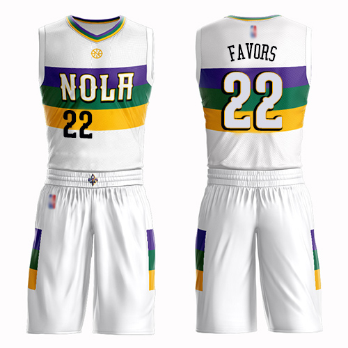 Authentic Men's Derrick Favors White Jersey - #22 Basketball New Orleans Pelicans Suit City Edition