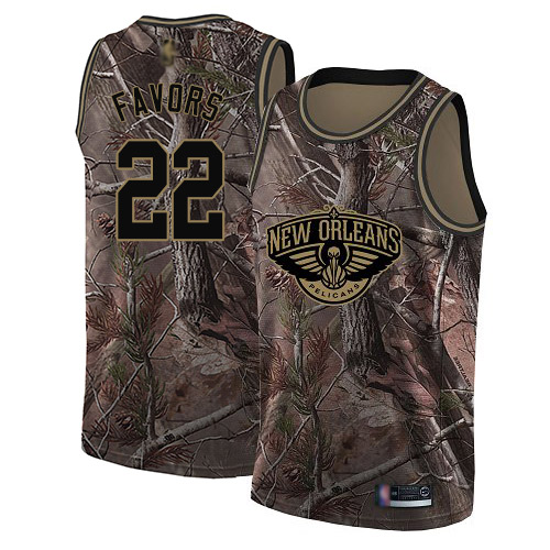 Swingman Men's Derrick Favors Camo Jersey - #22 Basketball New Orleans Pelicans Realtree Collection