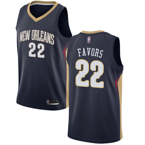 Swingman Men's Derrick Favors Navy Blue Jersey - #22 Basketball New Orleans Pelicans Icon Edition