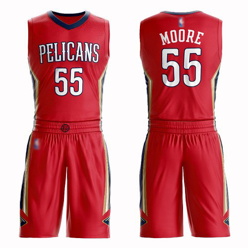 Authentic Men's E'Twaun Moore Red Jersey - #55 Basketball New Orleans Pelicans Suit Statement Edition