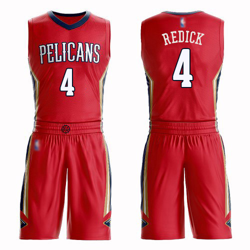 Authentic Men's JJ Redick Red Jersey - #4 Basketball New Orleans Pelicans Suit Statement Edition