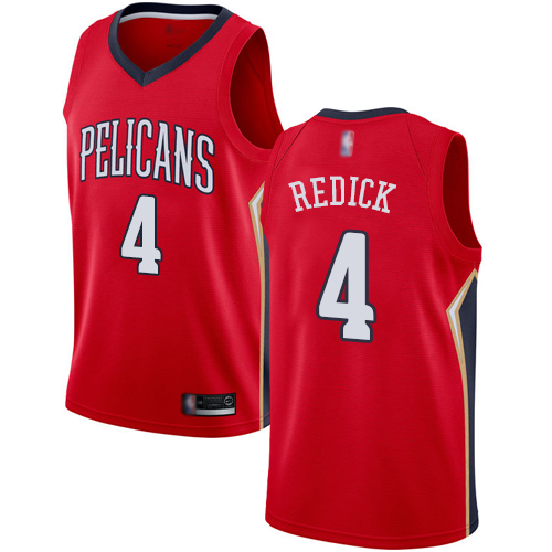 Swingman Youth JJ Redick Red Jersey - #4 Basketball New Orleans Pelicans Statement Edition