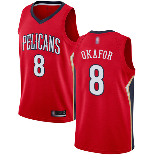 Swingman Men's Jahlil Okafor Red Jersey - #8 Basketball New Orleans Pelicans Statement Edition