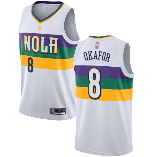 Swingman Men's Jahlil Okafor White Jersey - #8 Basketball New Orleans Pelicans City Edition