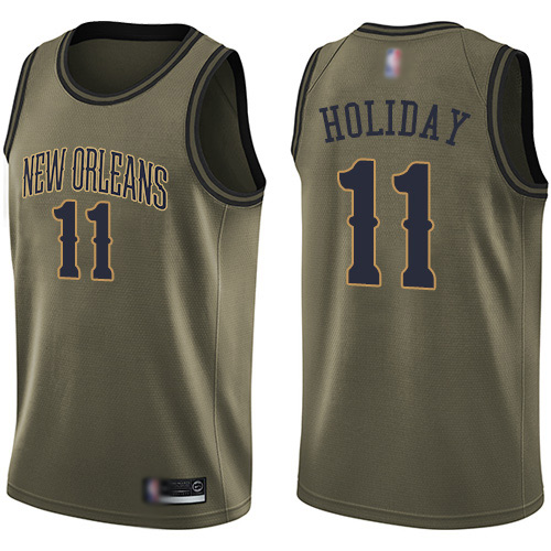 Swingman Men's Jrue Holiday Green Jersey - #11 Basketball New Orleans Pelicans Salute to Service