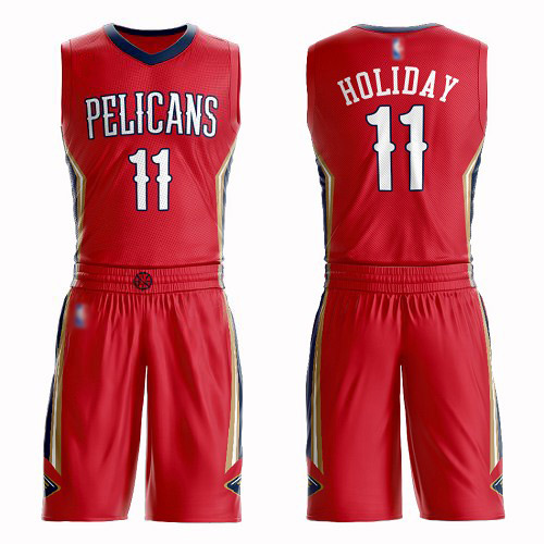Swingman Youth Jrue Holiday Red Jersey - #11 Basketball New Orleans Pelicans Suit Statement Edition